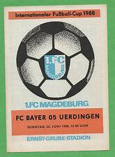 Orig.PRG   Intertoto Cup / IFC 1988   1.FC MAGDEBURG - BAYER 05 UERDINGEN !! TOP