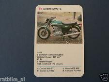 8-MOTOREN 8A DUCATI 500GTL  KWARTET KAART MOTORCYCLES, QUARTETT,SPIELKARTE