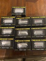 "Rake Of 10 Graham Farish 373-004 PCA Wagons ""Tunnel Cement"" Boxed & Weathered."