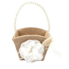 Vintage Rustic Burlap Wedding Ceremony Lace Flower Girl Basket Pearl Handle