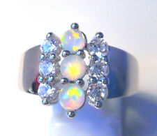 """GORGEOUS WHITE  FIRE OPAL  RING UK Size """"N"""" US 7"""