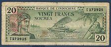 INDOCHINE - 20 FRANCS - NOUMEA - Pick n° 7 de 1945 non daté en TB F/T 272925
