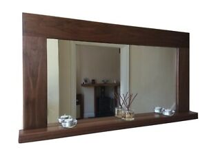 *Beautiful Quality Handmade Solid Walnut Wooden Mirror With Shelf*