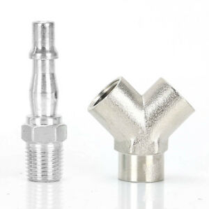 """3 Way Quick Release 1/4"""" BSP Air Line Hose Y Splitter Connector Airline Coupling"""