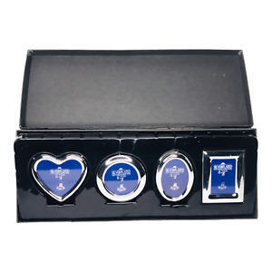 Set of 4 Dansk Silverplate 3 Inch Picture Frames Heart Circle Oval Square New