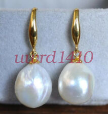 AAA 12-10mm South Sea White Baroque Pearl Earrings 14K YELLOW GOLD A18