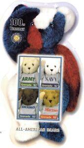 Teddy Bears, All American Bears, Grenada 2002 Odd shape MNH SS