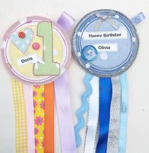 Handmade Birthday Badge Rosette, Personalised For You Boy / Girl / Adult