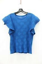 Pleats Please Issey Miyake Blue Polka Dot Pleated Short Sleeve Blouse Size 3