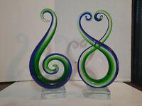 """Set of 2 Abstract Venetian Art Glass Murano Sculpture Blue/Green Figurines 9-10"""""""