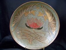 "DRAGON FLIES & LOTUS Enamel Painted FOOTED Brass 9"" Bowl Signed A. Dellaux India"