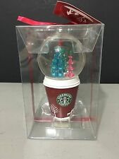 2006 Starbucks Snow Globe Red Coffee Go Cup With Christmas Trees Globe New!