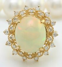 6.65 Carat Natural Ethiopian Opal and Diamonds 14K Solid Yellow Gold Women Ring