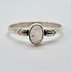 Brand New Sterling Silver 925 Moonstone (Oval) Ring, Size R 1/2