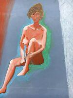 FEMALE NUDE - WEIBLICHER AKT - EIGHTIES EXPRESSIV - SITZENDE FRAU 62 X 49