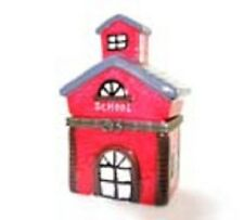 0503 LITTLE RED SCHOOL HOUSE TREASURE TRINKET BOX PERFECT ADD ON TO GIFT CASH/CK