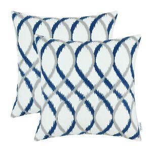 "2Pcs Gray Navy Blue Cushion Covers Pillow Shell Wave Geometric Home Decor 20x20"""
