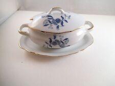 Vintage Made in Japan Royal Crown Sugar Bowl Condiment Dish Jar Blue Flowers