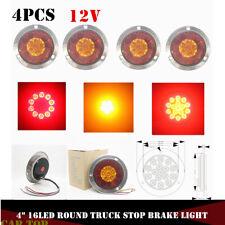 "4X 4"" Round Red/Amber 16 LED Truck Trailer Brake Stop Turn Signal Tail Light 12V"
