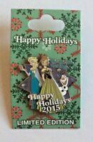 Frozen Anna Elsa Olaf Collector Pin LE 6000 Disney Happy Holidays 2015 Christmas