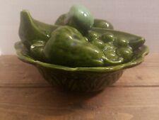 "Vintage Covered Green Ceramic Bowl Mixed Fruit Apple Grape Banana Orange 8 x 4"""