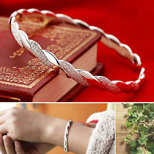 Fashion 925 Sterling Silver Plated Women's Charm Open Cuff Bracelet Bangle Gift