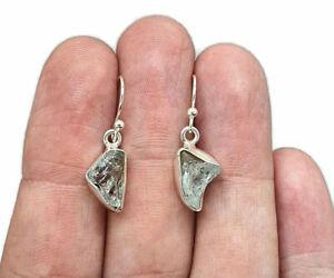Raw Aquamarine Earrings, March Birthstone, Sterling Silver, Rough Gemstones