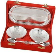 Hindu Temple Rituals Bowl Spoon Tray Serving Set Puja Bhog Diwali For Decoration