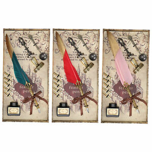 Feather Pen Set Gold Head Dipped Water Pen Pen Gift Box w/5 Replace Refills