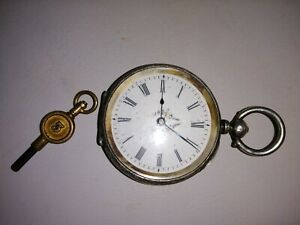 Beautifully Detailed Fine Silver Swiss Ladies Pocket Watch with Key