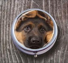 DOG GERMAN SHEPHERD  PUPPY FACE PILL BOX ROUND METAL -nfg5Z