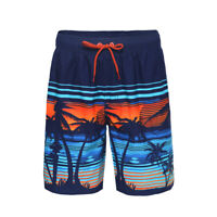 Men's Quick Dry Drawstring Waist Swim Trunks Beach Board Shorts with Mesh Lining