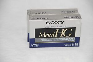 2 SONY METAL HG 120 Min Video Camcorder Tape P6-120HGF Video8 Sealed New