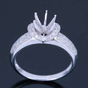 Solid 14k White Gold 6mm Round Dimond Engagement&Wedding Semi Mount Setting Ring