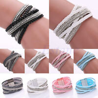 Fashion Leather Wrap Wristband Cuff Punk Multilayer Rhinestone Bracelet Bangle