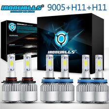 9005 + H11 + H11 LED Headlight 6500K White Combo High-Low Beam + Fog Light Bulbs