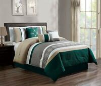 7 Piece Luxury Embroidery Bed in Bag Microfiber Comforter Set ,Teal, Queen Size