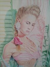 Framed Original 80s Colored Pencil Pinup in Saraong Palm Miami Mauve Signed R.