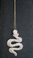 "Clear RHINESTONE SNAKE PENDANT Necklace on 17"" Long chain"