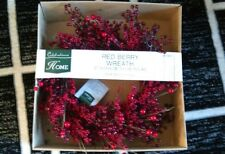 "New in box 24"" red berry wreath Christmas door home wall holiday 62cm"
