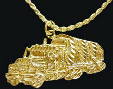 0365 Gold Plated over real Sterling Silver .925 18 Wheeler Truck Pendant Charm