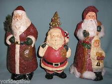 Teena Flanner Midwest of Cannon Falls 3 Primitive Vintage Style Santa Figurines