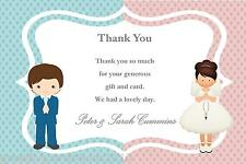 10 Personalised Communion Boy Girl Twins Thank You Cards