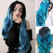 Blau Damen Ombre Lang Haar Volle Perücke Gewellt Synthetisch Flaxen Cosplay Wigs