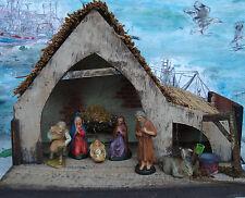 Krippe Holz mit Figuren Weihnachten 50er  Krippenfiguren Stall alt