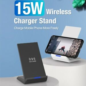 15W Fast Qi Wireless Charger Charging Dock Stand For iPhone 12 11 Pro Max 8 XS X