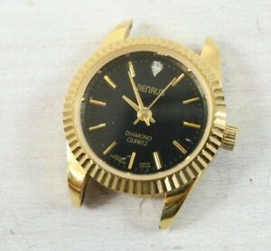 Vintage Benrus Quartz Diamond Watch Ladies Womens 25mm Gold Tone Black Face