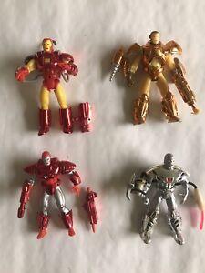 4 Iron Man Figures Lot War Machine Marvel Toy Biz  Complete
