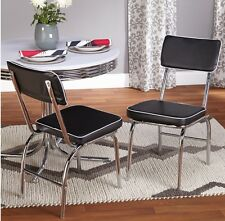 Retro Diner Chair Chrome Dining Kitchen Chairs Vintage Look Set Of 2 Cafe Black