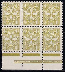 1925 Malta 4d yellow olive Postage Due Block/6 + Margin & Makers SGD31 CV £270+